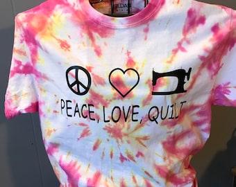 Medium Pink Peace, Love, Quilt shirt