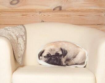 Pug Pillow, dog lover gift, pet pillow, birthday gift for girl, pug art, dog pillow, pug stuffed animal dog, pug gifts, pug plush pillow