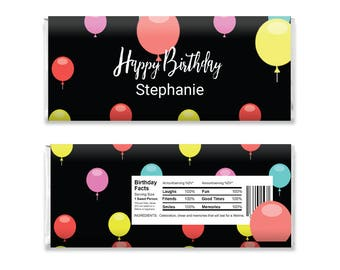 Candy Labels, Printable Chocolate Bar Wrapper, Chocolate Bar Wrappers, Candy Bar Templates, Party Gift, Birthday Party, Digital Download