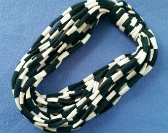 Dark Green and White Stripes Recycled T-shirt Infinity Scarf Necklace - upcycled tshirt scarf tarn tshirt yarn, striped scarf ecofashion