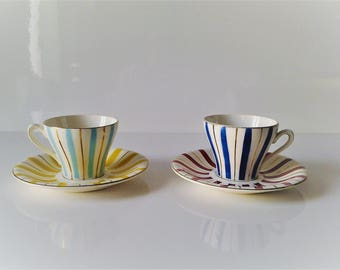 French Vintage set of 2 coffee cups and saucer Digoin France 30's /Art Deco /decor chic and romantic /side kitchen/breakfast