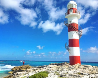 Faro de Punta Cancun Lighthouse Photograph Print, Beach, Ocean, Water, Cancun, Mexico, Home Decor, Wall Art, Photography