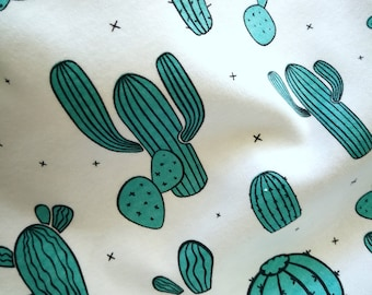 Organic Cotton knit, Interlock knit, GOT certified, Made in USA, Cotton knit fabric,baby clothing fabric, cactus print, green cactus