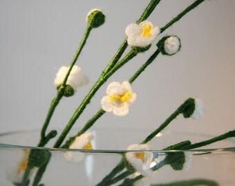 Crochet flowers - Home Deco - Table Set - Bouquet - White Plum Blossom