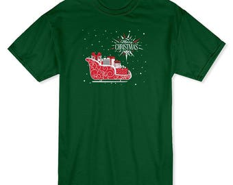 Merry Christmas Sleigh & Presents Snowing Background  Men's Forest Green T-shirt