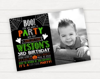 Halloween Birthday Invitation Halloween Party Invite  Birthday Kids Halloween Printable Invitation Kids Halloween Party Invitation