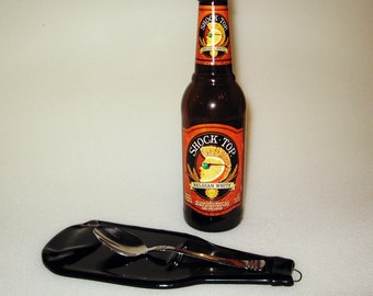Flattened Beer Bottle - Spoon Rest - Wall Decor - Slumped Bottle - Barware - Upcycled - Bar Decoration - Beer Lover Gift - Tea Bag Rest