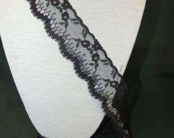 2 m black and silver lace