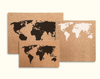 Cork board world map etsy natural cork board world map no frame gumiabroncs Image collections