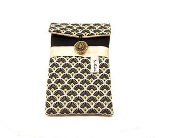 phone case black and white scandinavian style , iphone pouch in canvas and graphic fabric , women's phone sleeve padded