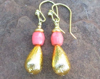 Pink Coral Earrings with Gold Plated Beads - Artisan Handmade Jewelry