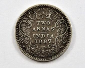 India-British 1887 Silver 2 Annas Coin.