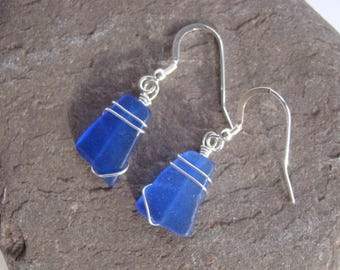 Cobalt Blue Sea Glass Earrings - Wire Wrapped - Sterling Silver
