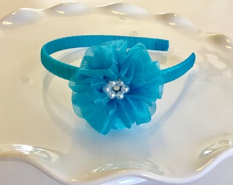Ocean Blue Full Ruffle Flower Headband