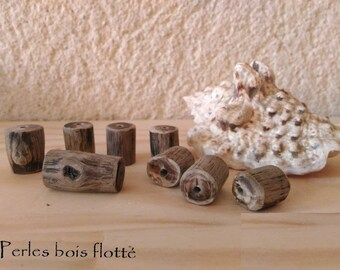 One of a kind driftwood beads x 8 handmade, ethnic, France