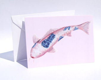 SALE Koi Carp Card, Unusual Gift, Just Because Card, Memo Card, Funny Card, Kawaii Card, Cute Note Card, Girl Gift, Fine Art Stationery