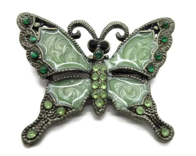 Butterfly Brooch, Vintage Enamel Pin, Green Swirl Pin, Rhinestone Butterfly Brooch, Romantic Gift Idea for Her