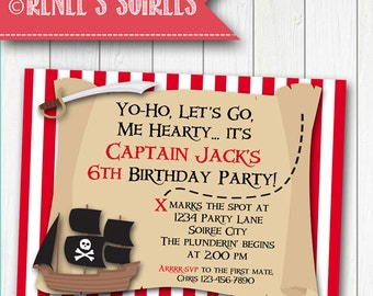 PIRATE Party Invitation & optional Thank You Card - Printable Birthday Invite - for Boys or Girls - Personalized DIY