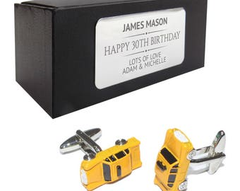 Yellow taxi cab CUFFLINKS 30th, 40th, 50th, 60th, 70th birthday gift, presentation box PERSONALISED ENGRAVED plate - 501