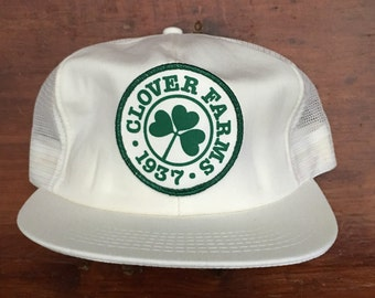 c2cb71ce656 Vintage Clover Farms Farming Farm Mesh Trucker Hat Snapback Hat Baseball  Cap Patch   Made In USA