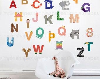 Wall Decal Kids Wall Stickers Kids Alphabet - Peel and Stick Wall Sticker