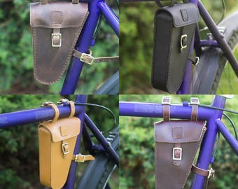 Leather Frame Bag For Bicycle Bike Triangular Bag MULTICOLOURED Handcrafted Leather
