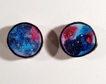 Galaxy Duo 001 - Watercolour Paintings on a Woodslices - Set of Two