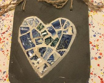 Blue willow pattern mosaic heart on slate