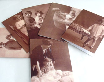 Blank Greetings Cards Set of 6 featuring Vintage Images of Children