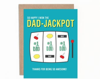 Father's Day Card, Dad-Jackpot, Happy Father's Day, Card for Mom, Best Dad Ever, Number One Dad, Witty Father's Day Card, Hand Lettered