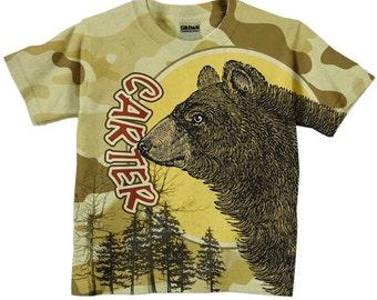 Boy's Bear Shirt, Personalized Woodsy Camoflauge T-Shirt, Clothing