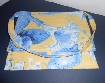 Flap purse,  Over the shoulder purse, large flower print