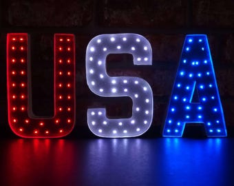 USA - 4th of July Decor - Patriotic Decor - Red White & Blue Light Up Marquee Letters - 8 Inch or 4 Inch - American Decor - Independence Day