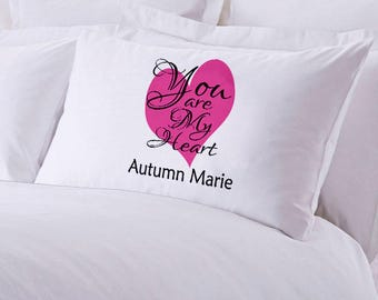 """Monogrammed You Are My Heart Pillowcase 30"""" x """"20"""