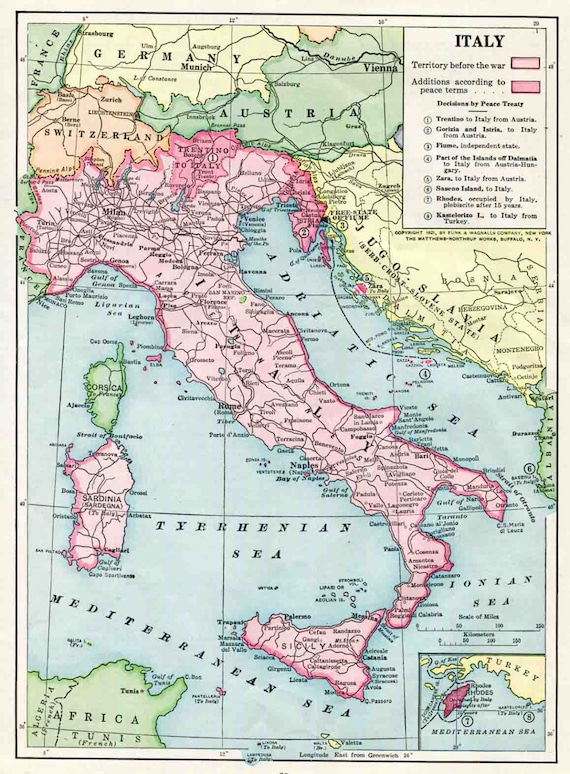 Items similar to 1921 italy color map post world war one europe items similar to 1921 italy color map post world war one europe history wall decor war borders on etsy gumiabroncs Image collections
