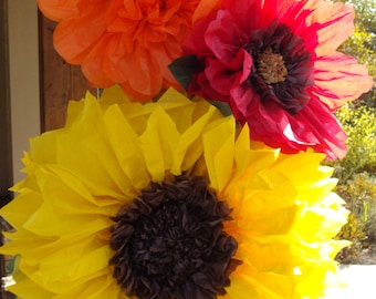 Fall Wedding - Set of 3 Giant Paper Flowers