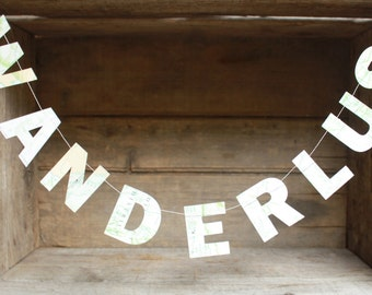 Wanderlust Letter Garland, SMALL letters, Paper Garland, Vintage Atlas Letter Garland