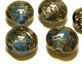 DESTASH - Five (5) Montana Blue Puffy Lampwork Glass Lentil Beads with Goldstone Swirls --  Lot 3U