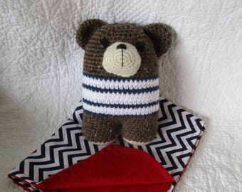 Bear Rattle with security blanket ~ handmade