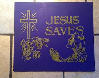Jesus Saves Antique Mini Poster