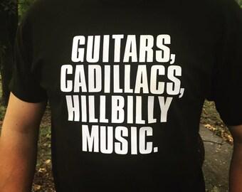 Guitars Cadillacs Hillbilly Music Custom Gildan SoftStyle Adult T-Shirt Dwight Yoakam