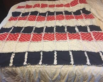 Rag quilt, quilt, throw blanket