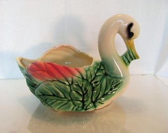 Swan Pottery Planter by American Bisque Marked USA