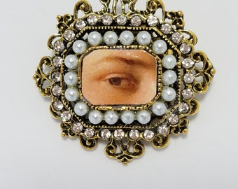 18th Century Jewelry - Georgian Paste - Crystal & Pearl Lover's Eye Brooch - Georgian Eye Miniature - Rococo - Victorian Eye Brooch