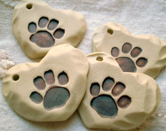 3+ Paw Beads, Hole in Side, Ceramic Beads, Clay Beads, Heart Focal Beads, Handmade Bead Supplies, Dog Lover Bead, Cat Lover Bead