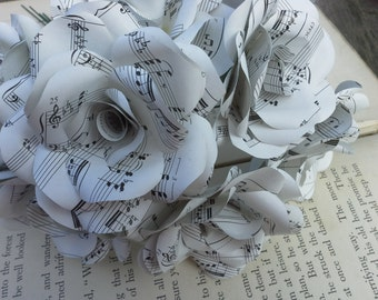 6 x Sheet Music Paper Roses, Paper Flowers Roses - Handmade Paper Flowers, Wedding Flowers, Bouquet of Roses
