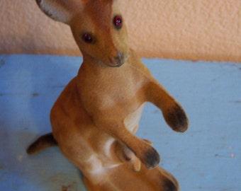 fuzzy momma and baby kangaroo figurine