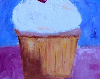 Original Oil Painting Cupcake Cherry on Top Birthday Gift for Her Home Decor Kitchen Pop Art California Artist Gift for Her Gifts for Women