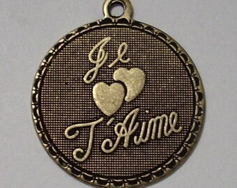 Je T Aime Oxidized Brass Charm or Pendant 19mm