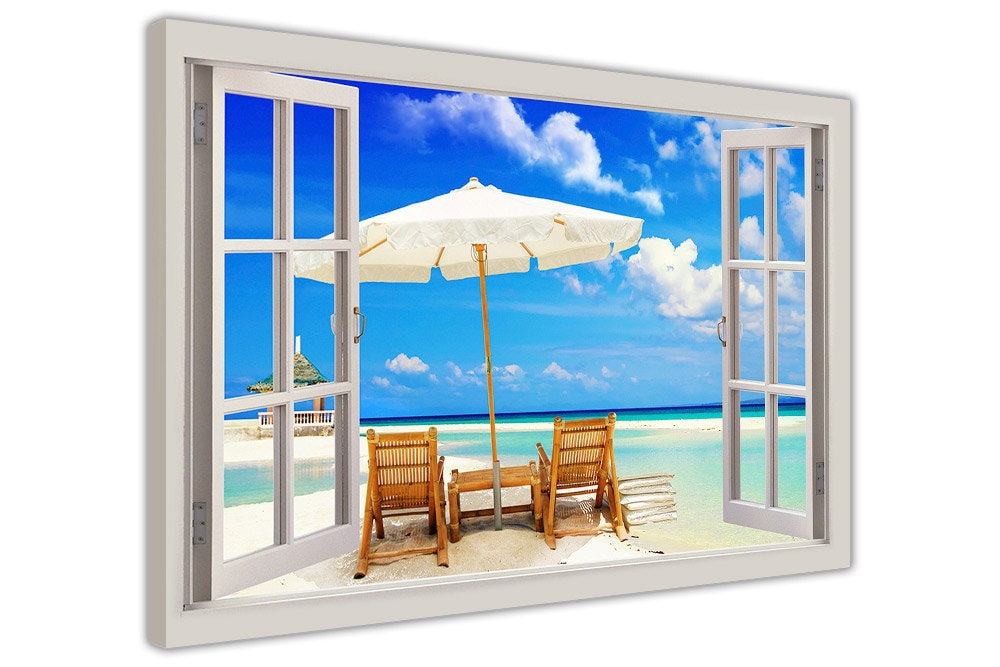 Holiday Beach 3D Window Bay View Framed Canvas Pictures Wall